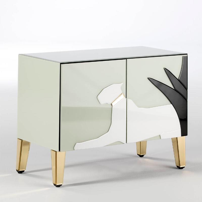 Buffet 2 Porte 90X45X70 Specchio Dorato Vetro Verde Bianco Nero - image 52437