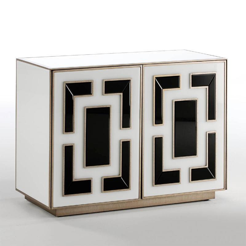 Aparador 2 Puertas 98X45X74 Cristal Blanco Negro - image 52442