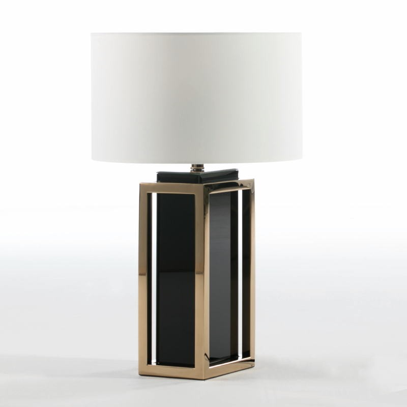 Table Lamp Without Lampshade 20X14X45 Steel Golden Glass Black - image 52450
