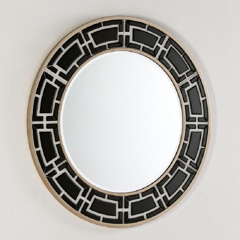 Spiegel 110X2X110 Glas Weiß / Schwarz - image 52454
