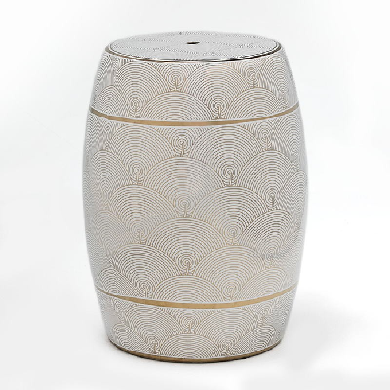 Stool 32X43 Ceramic White Golden