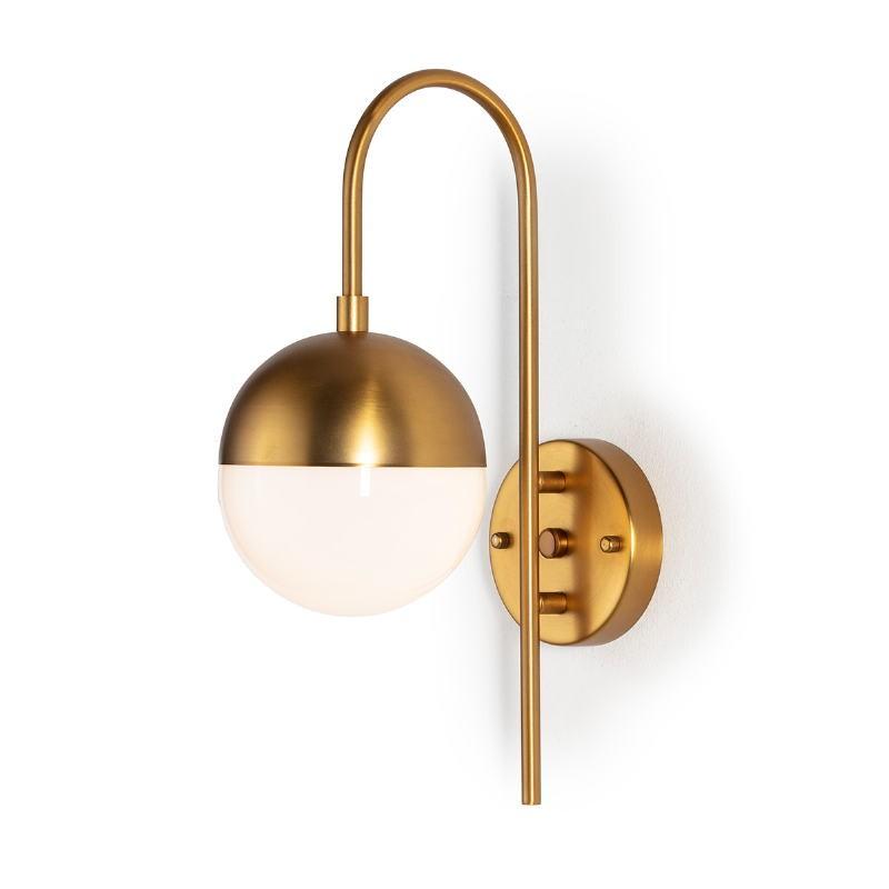 Wandlampen 15X27X42 Glas Weiß/ Metall Golden