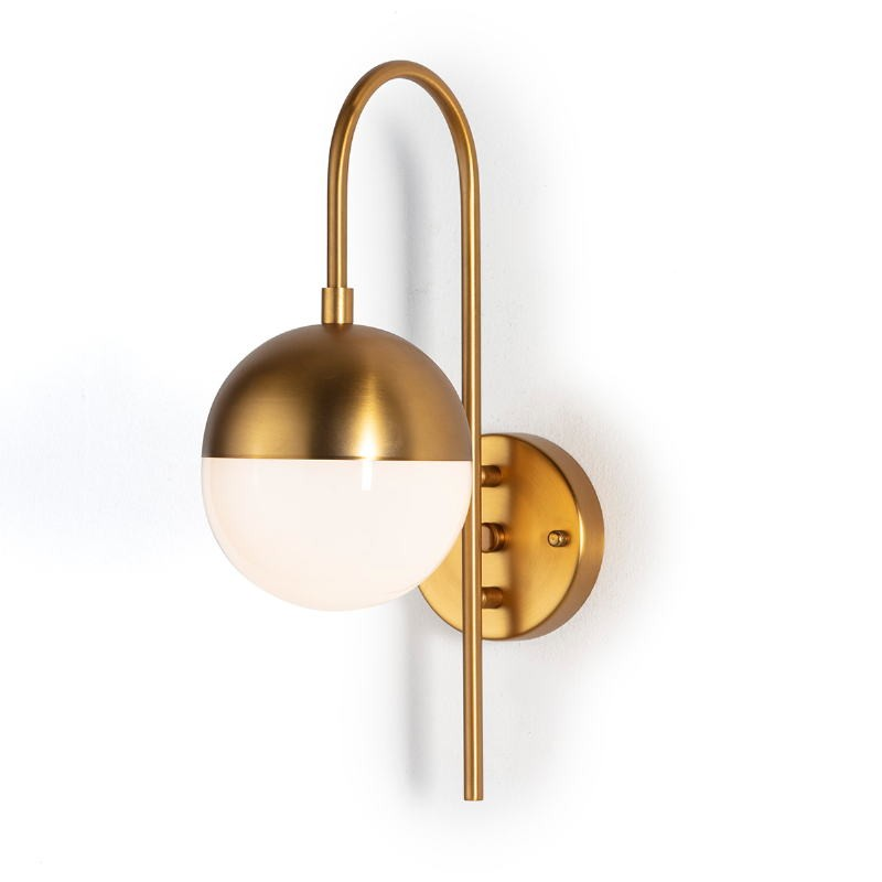 Wall Lamp 15X27X42 Glass White Metal Golden - image 52535