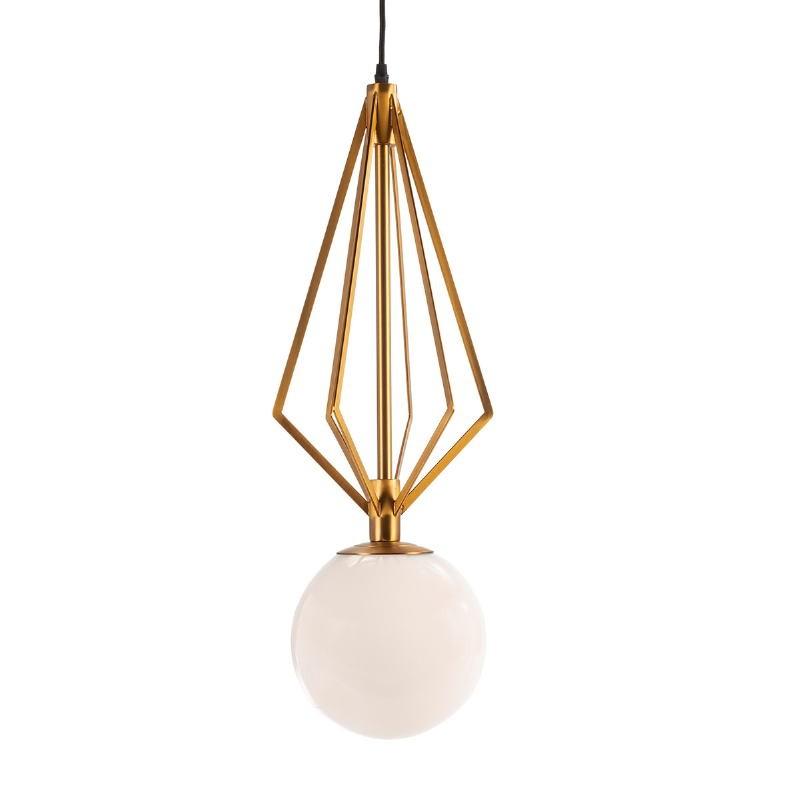Lampada A Sospensione 23X23X68 Vetro Bianco Metallo Dorato