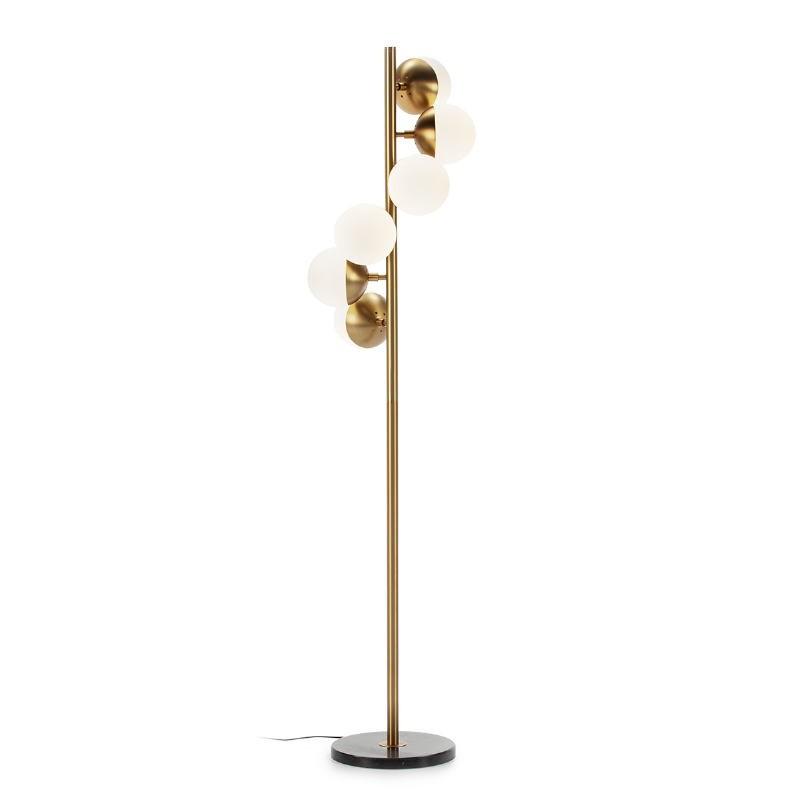 Lámpara De Pié 36X36X153 Cristal Blanco Mármol Negro Metal Dorado