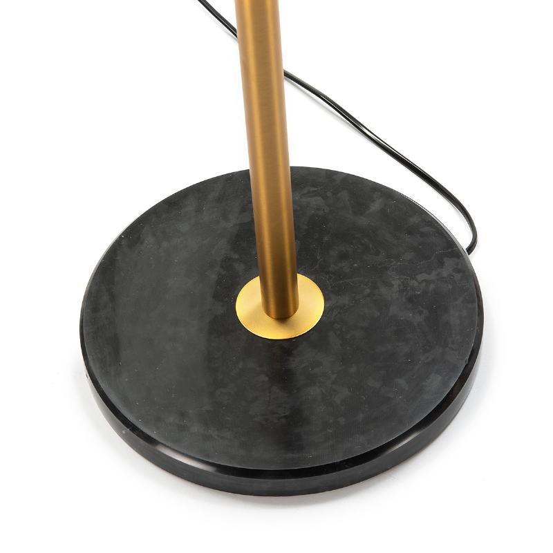 Lámpara De Pié 36X36X153 Cristal Blanco Mármol Negro Metal Dorado - image 52545