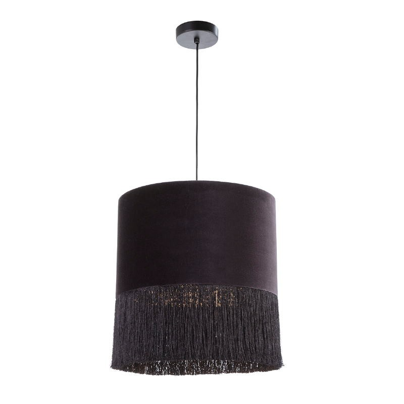 Lámpara Colgante Con Pantalla 40X40X43 Terciopelo Negro