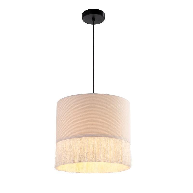 Lampe suspendue 35x35x32 tissu Blanc - image 52587