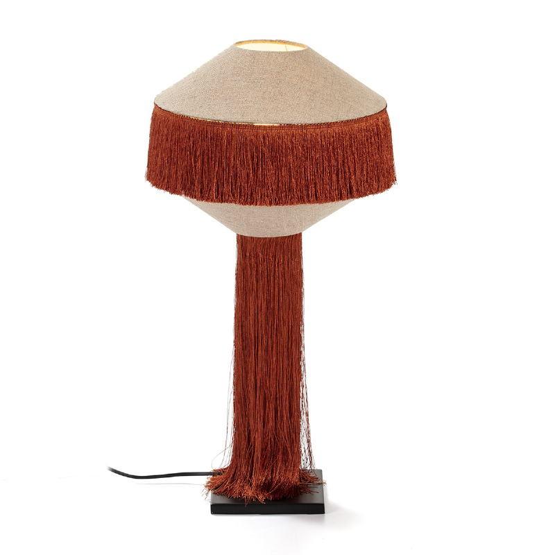 Lámpara De Sobremesa Con Pantalla 30X30X62 Metal Negro Lino Natural Tela Ocre