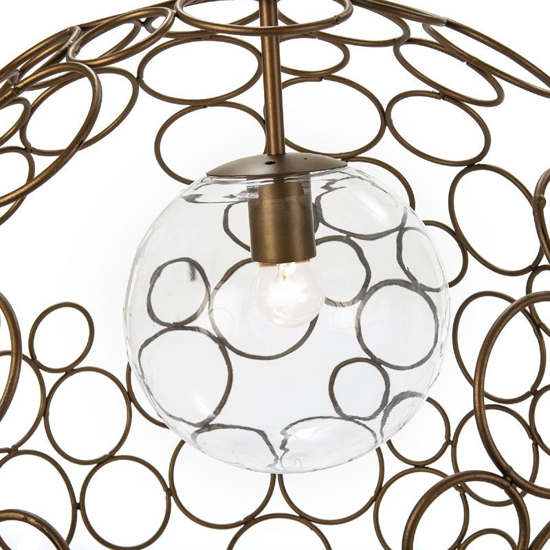 Hanging Lamp 55X55X55 Glass Metal Golden - image 52621