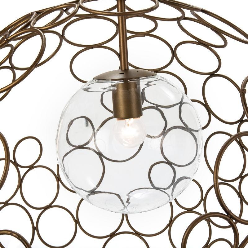 Lampe suspendue 55x55x55 Verre Métal Doré - image 52621