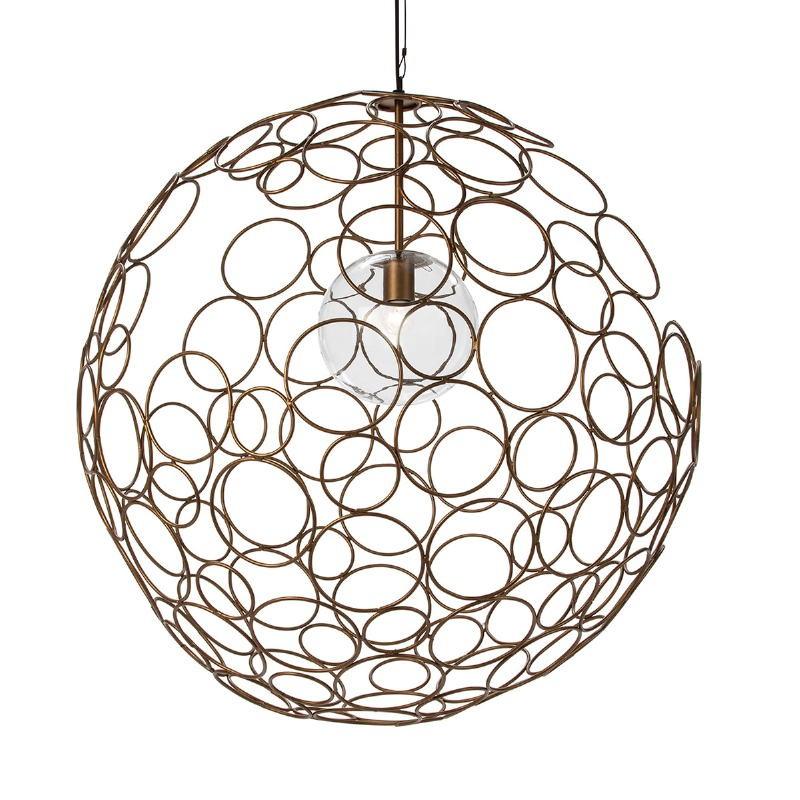 Lampe suspendue 80x80x80 Verre Métal Doré - image 52624