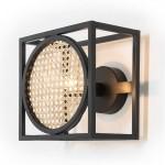 Wandlampen 24X17X24 Metall Schwarz/Rattan Natur