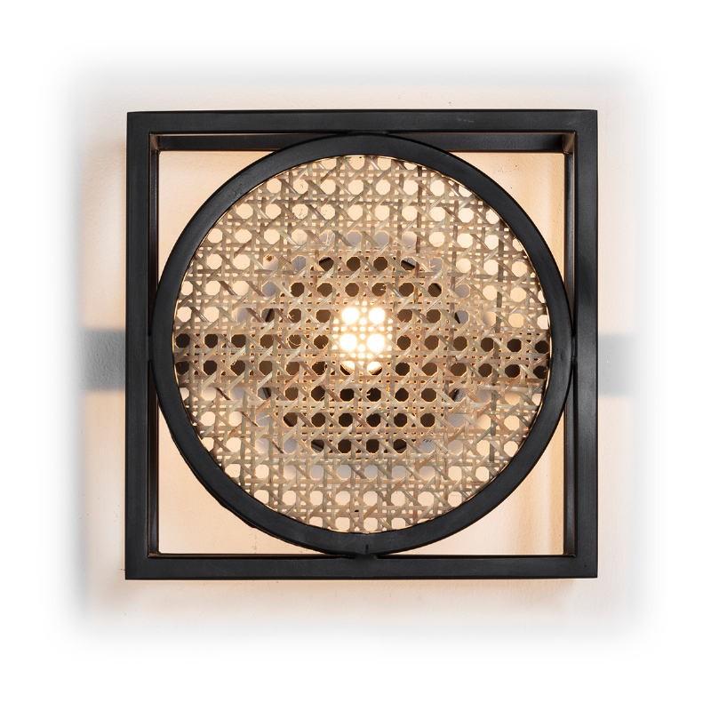 Wall Lamp 24X14X24 Metal Black Rattan Natural - image 52645