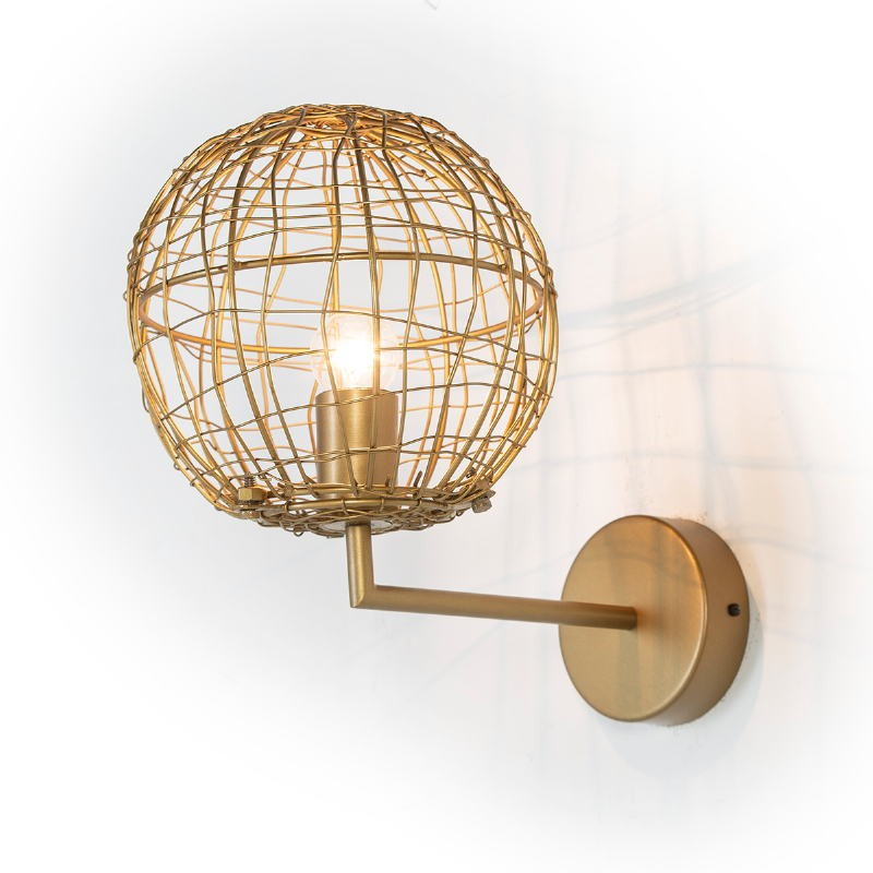 Wall Lamp 20X32X29 Wire Metal Golden - image 52648