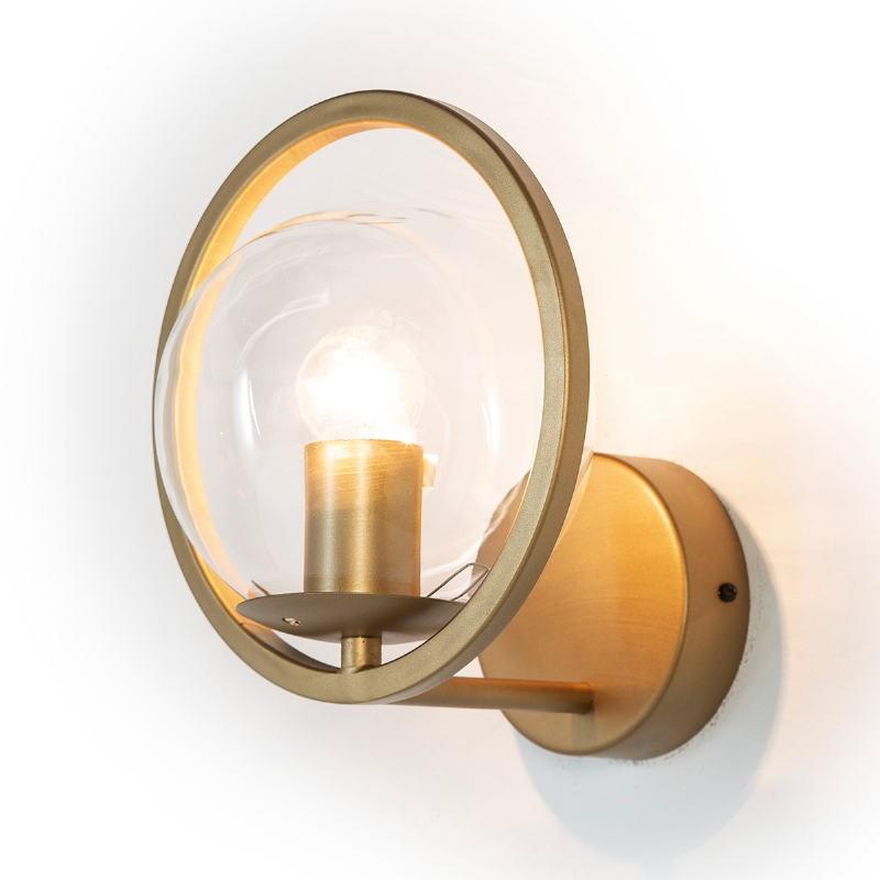 Wall Lamp 21X23X22 Glass Metal Golden - image 52650