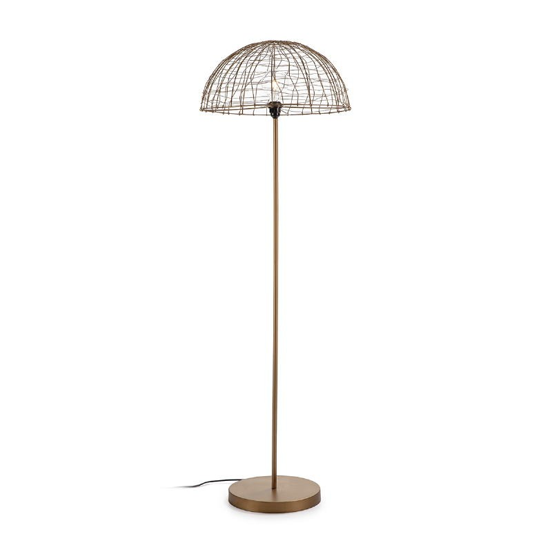Lámpara De Pié 50X50X157 Alambre Metal Dorado Antique