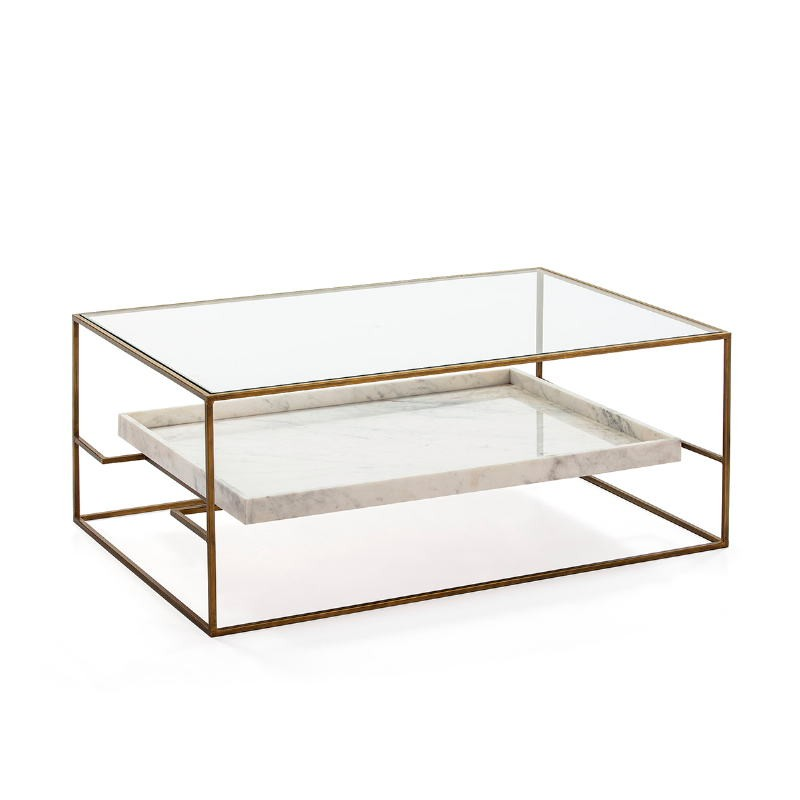 Table basse 111x76x45 Verre Marbre Blanc Métal Doré