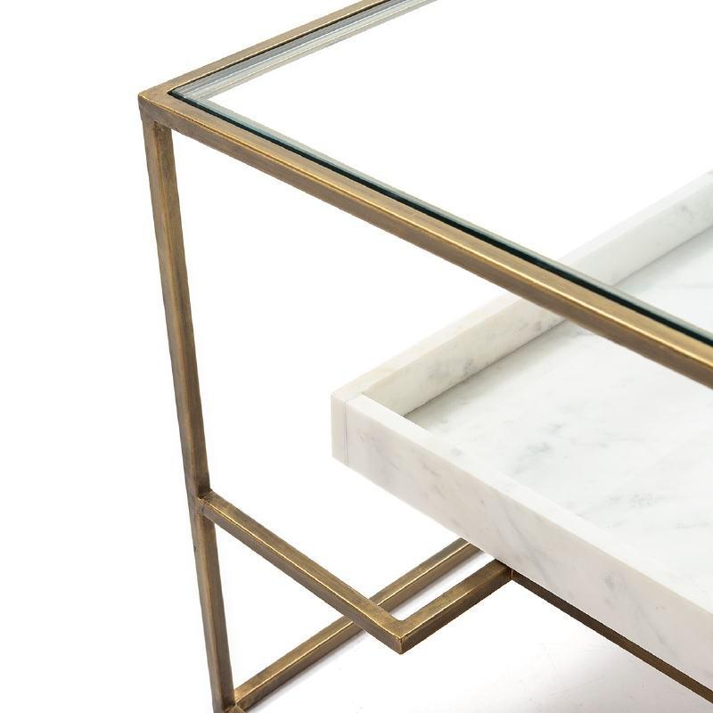 Table basse 111x76x45 Verre Marbre Blanc Métal Doré - image 52704