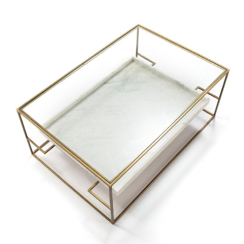 Table basse 111x76x45 Verre Marbre Blanc Métal Doré - image 52705