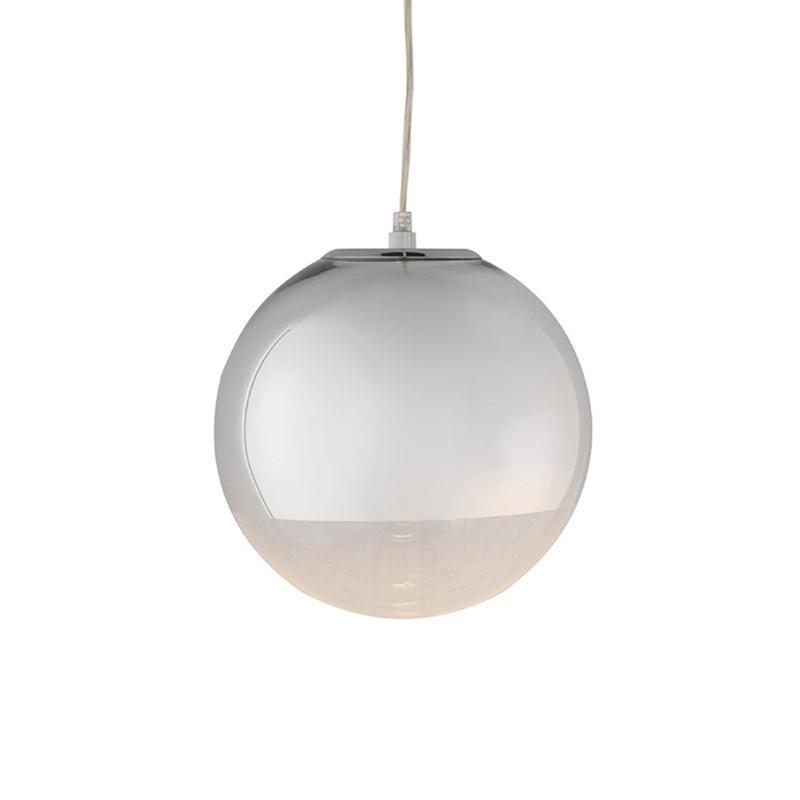 Lampada A Sospensione 25X25X25 Vetro Metallo Argento - image 52748