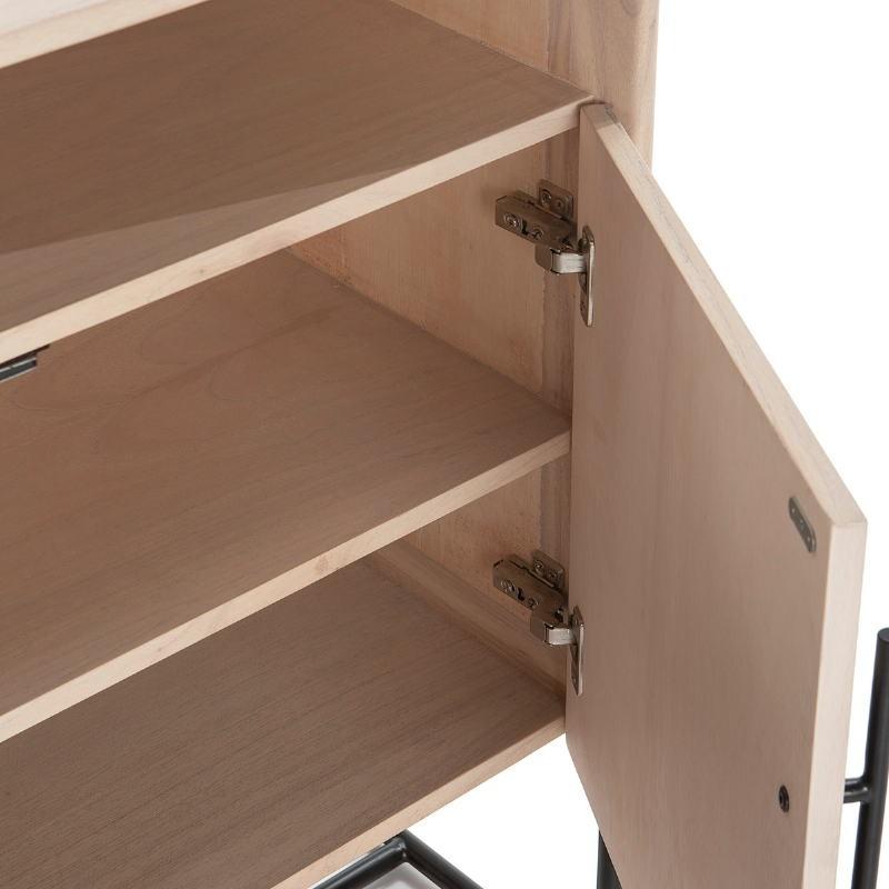 Anrichte 2 Türen 90X40X93 Holz Natürlich/Metall Schwarz - image 52805