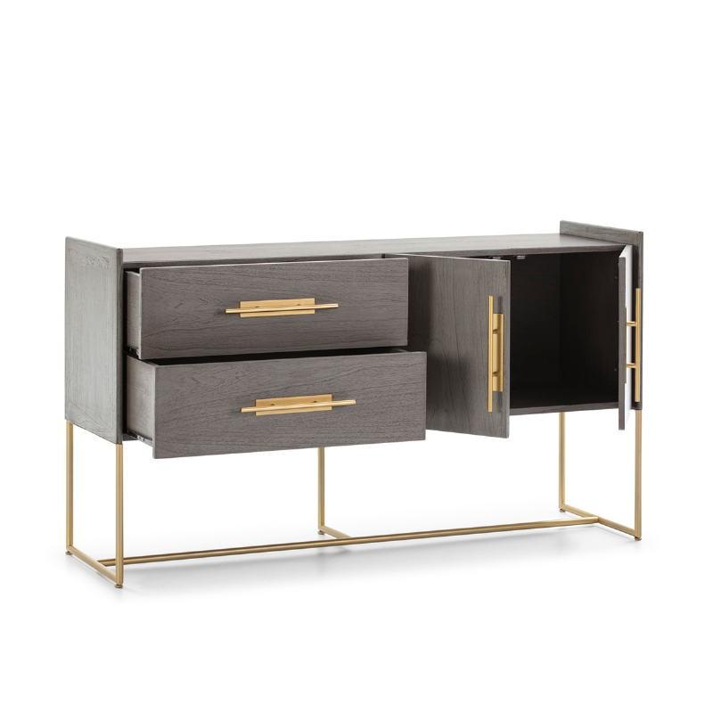 Anrichte 2 Türen 2 Schubladen 150X46X86 Holz Grau/Metall Golden - image 52816