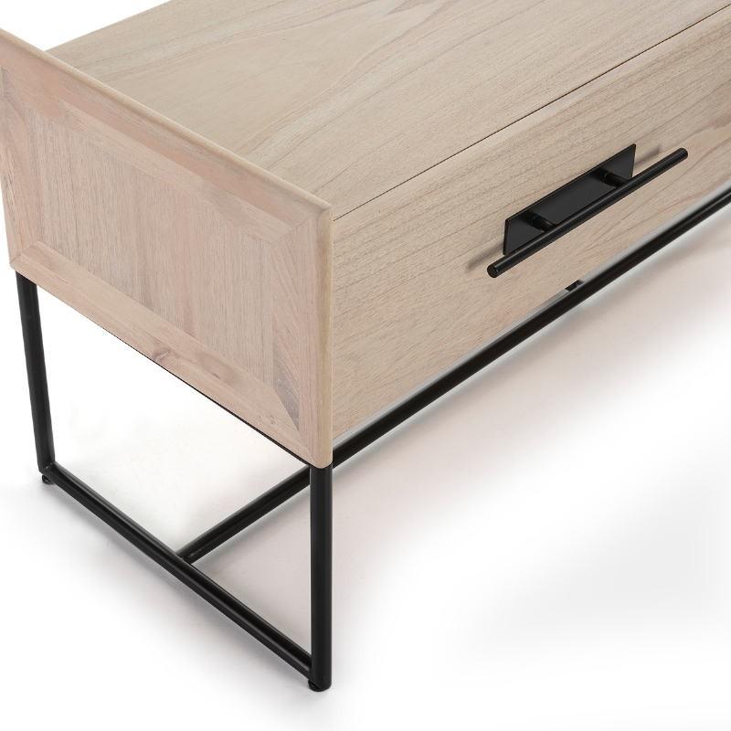 Mueble Tv 2 Cajones 140X45X55 Madera Natural Metal Negro - image 52841