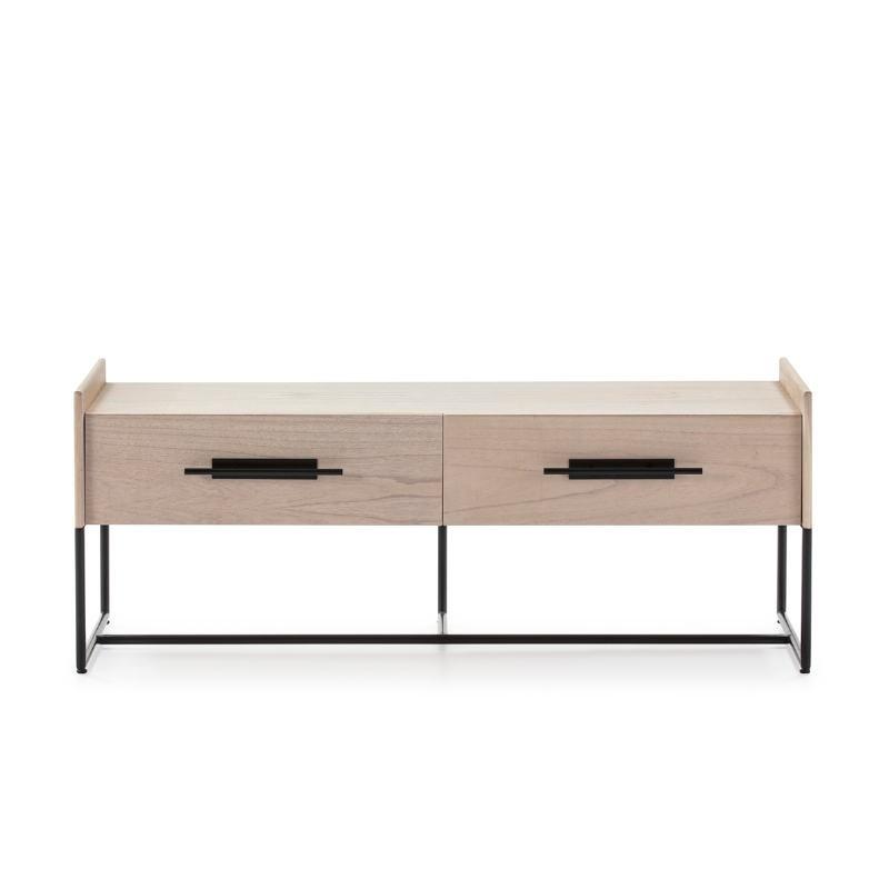 Mueble Tv 2 Cajones 140X45X55 Madera Natural Metal Negro - image 52842