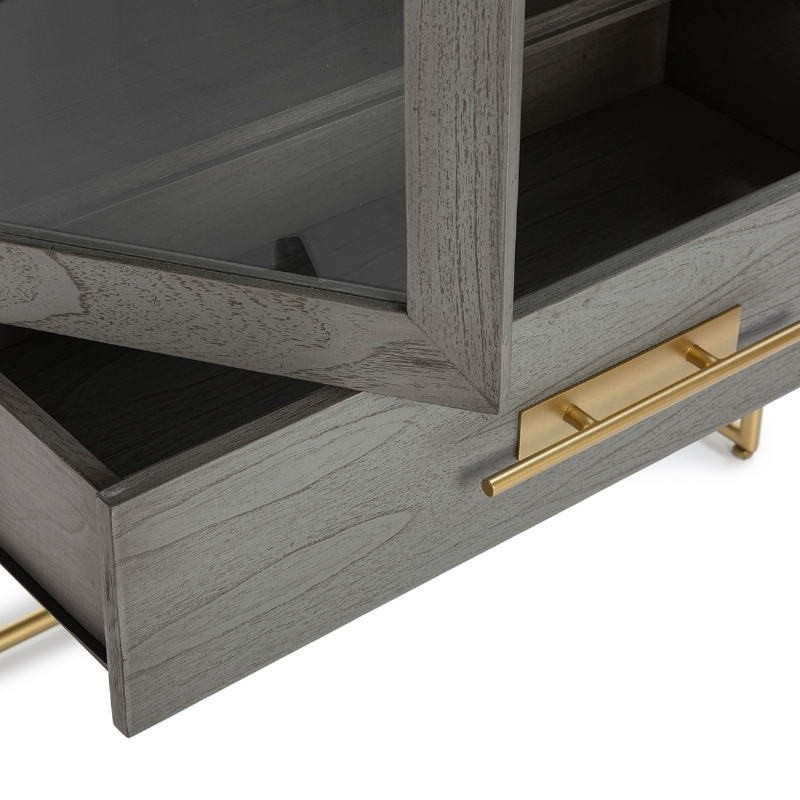 Showcase 85X40X195 Wood Grey Metal Golden - image 52846