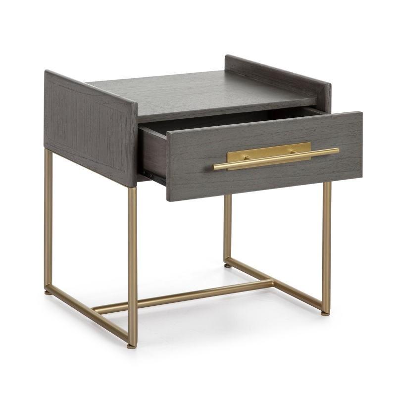Table de chevet 1  tiroir 50x45x54 Bois Gris Métal Doré - image 52860
