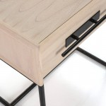 Bedside Table 1 Drawer 50X45X54 Wood Natural Metal Black