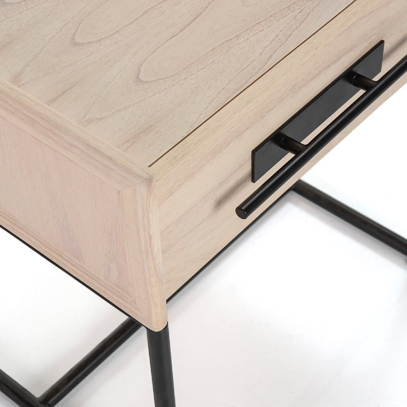 Bedside Table 1 Drawer 50X45X54 Wood Natural Metal Black - image 52863