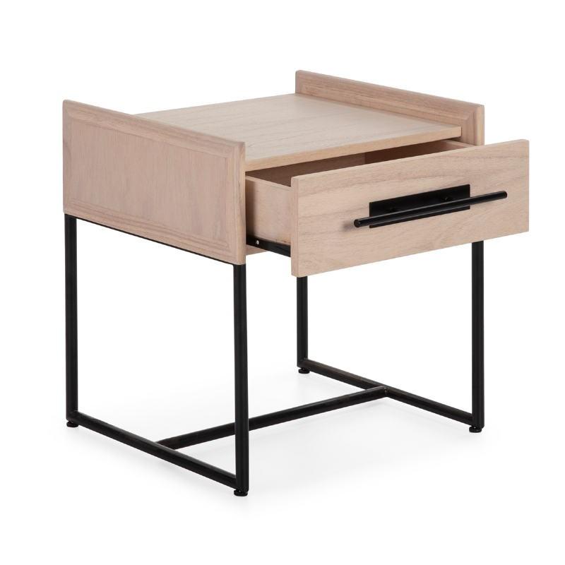 Bedside Table 1 Drawer 50X45X54 Wood Natural Metal Black - image 52865