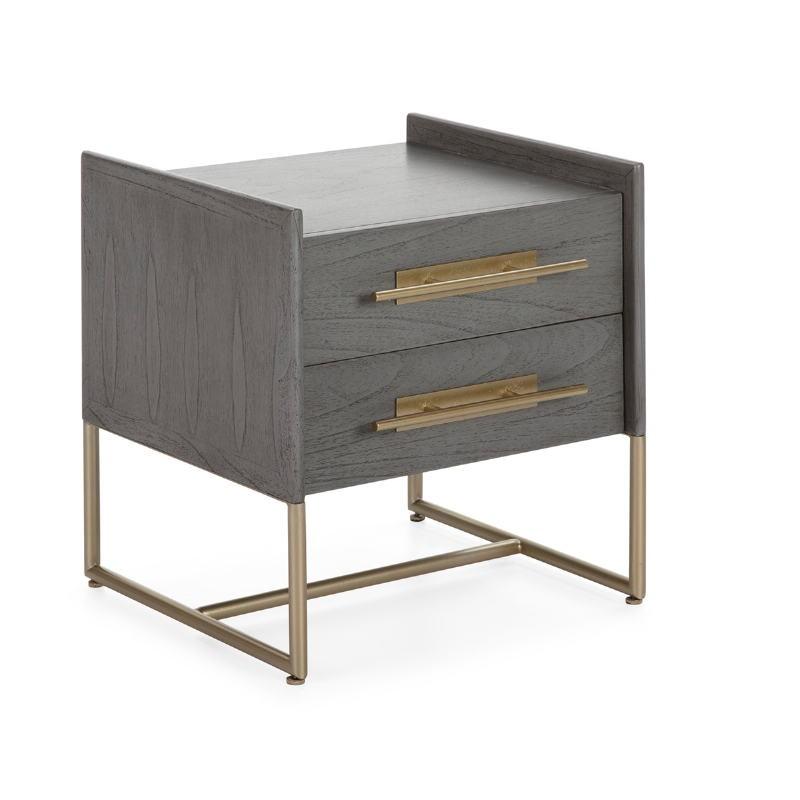 Table de chevet 2 tiroirs 50x45x54 Bois Gris Métal Doré Modèle 2 - image 52866