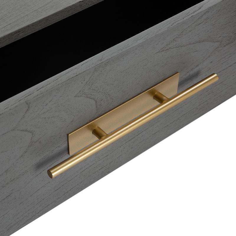 Table de chevet 2 tiroirs 50x45x54 Bois Gris Métal Doré Modèle 2 - image 52867