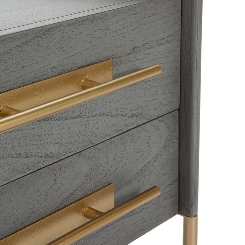 Table de chevet 2 tiroirs 50x45x54 Bois Gris Métal Doré Modèle 2 - image 52868