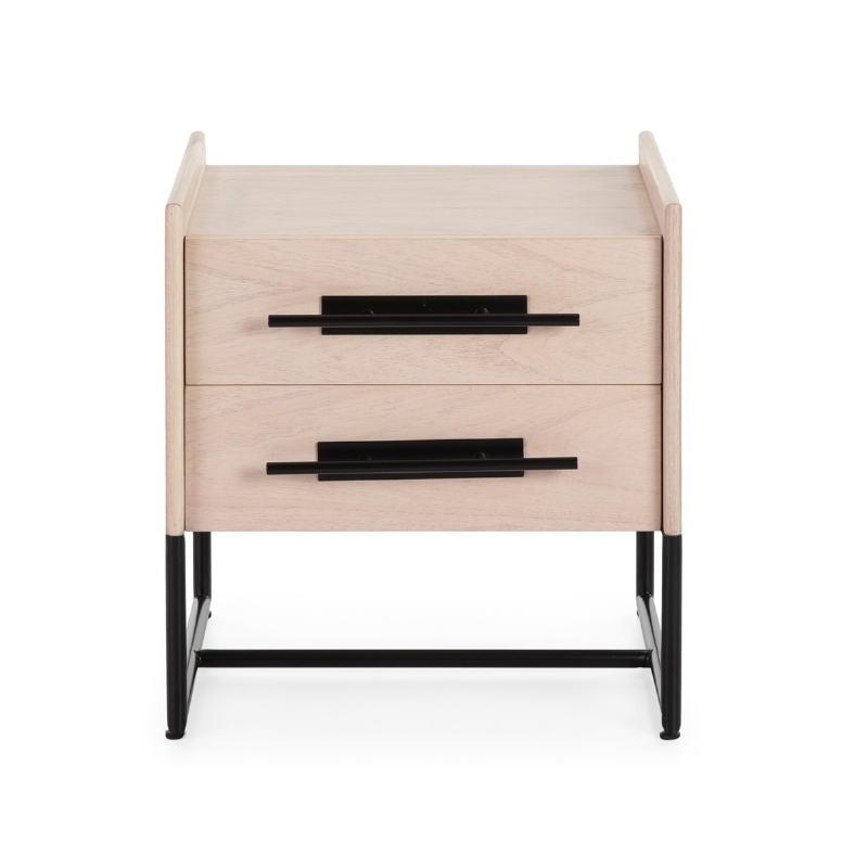 Bedside Table 2 Drawers 50X45X54 Wood Natural Metal Black Model 2 - image 52874