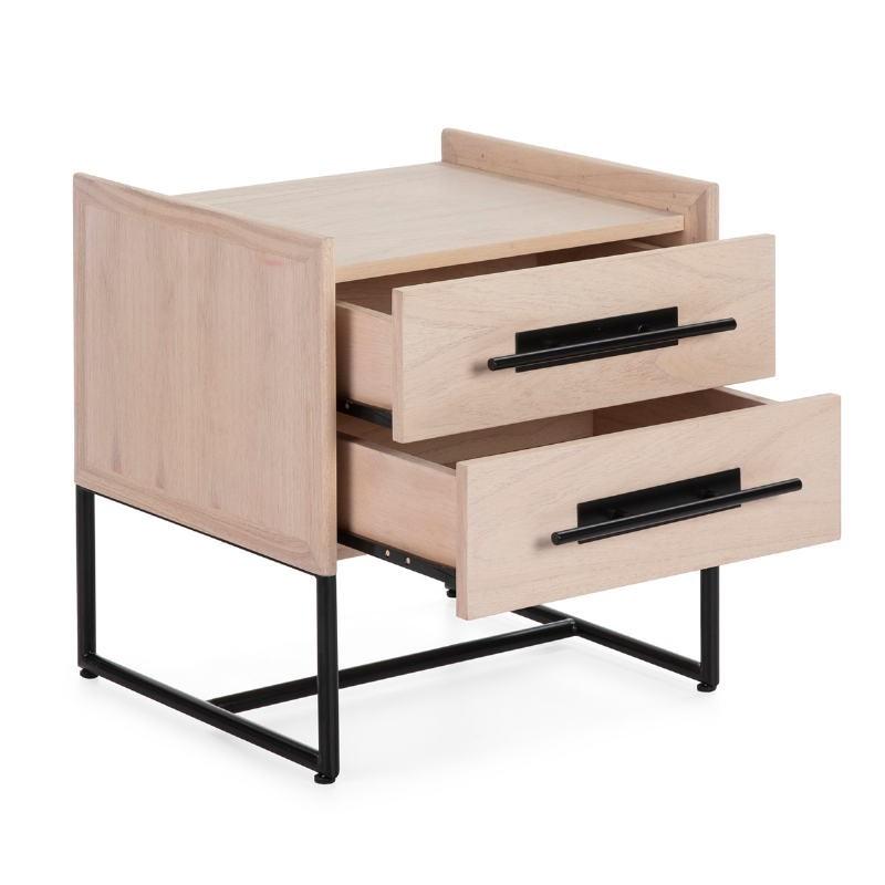 Bedside Table 2 Drawers 50X45X54 Wood Natural Metal Black Model 2 - image 52875