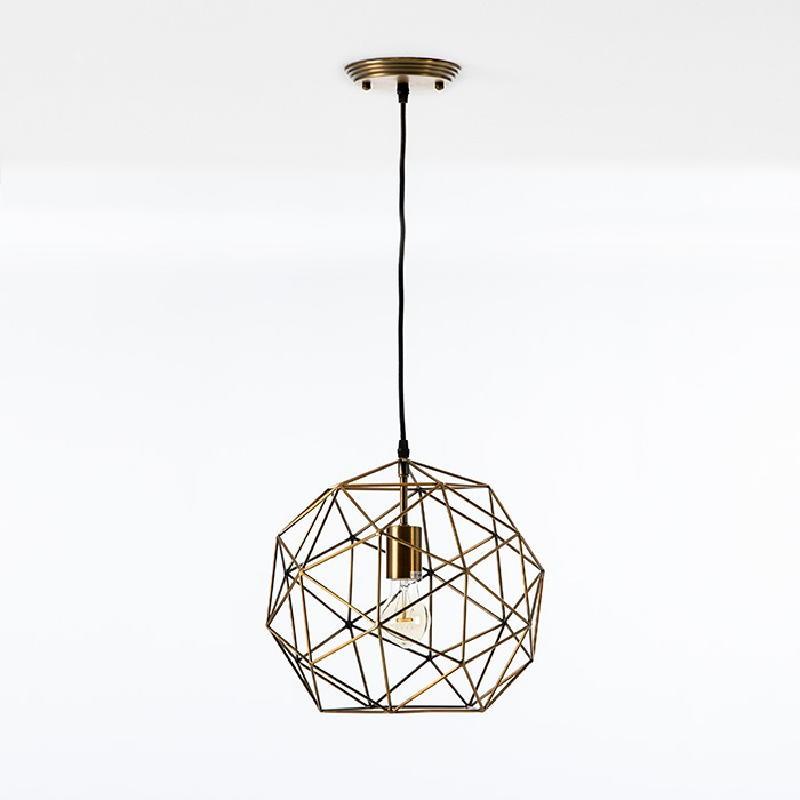 Lampe suspendue avec abat-jour 32x30 Métal Doré
