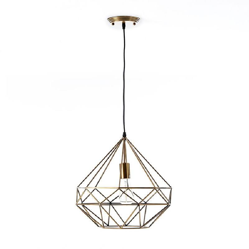 Lampe suspendue avec abat-jour 40x37 Métal Doré