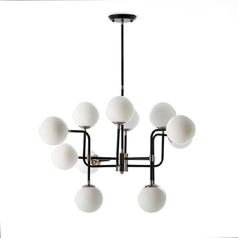 Lampe suspendue avec abat-jour 70x90x100 Métal Noir-Nickel Verre Blanc