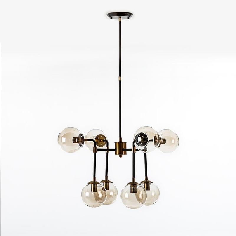 Lampada A Sospensione Con Paralume 75X75X100 Metallo Nero-Dorato Vetro Ambra