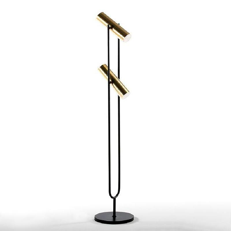 Lampada A Stelo Con Paralume 22X120 Metallo Oro Nero