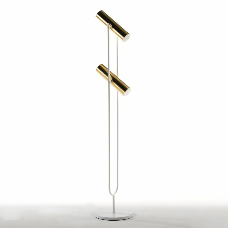 Lampada A Stelo Con Paralume 22X120 Metallo Oro Bianco - image 52927