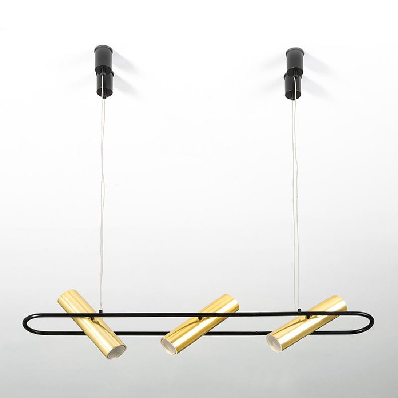 Lampada A Sospensione Con Paralume 90X10X200 Metallo Nero Dorato