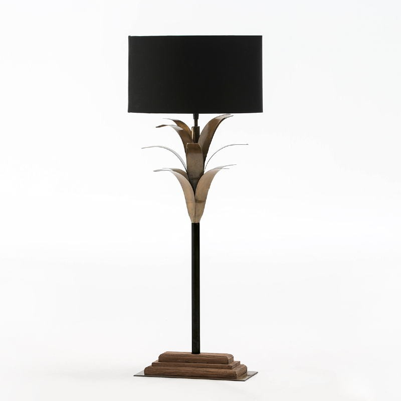 Table Lamp With Lampshade 30X28X74 Metal Wood Black