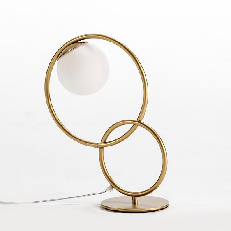 Lampe de Table avec abat-jour 42x18x48 Verre Métal Doré - image 52947