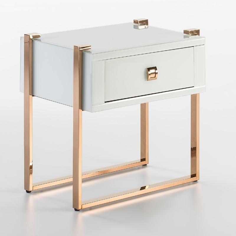 Table de chevet 54x40x56 Acier Or Rose Verre Blanc - image 52951