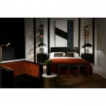 Bed 161X202X101 Wood P.Leather Black